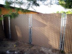 6' privacy chain link, 12' double swing gate