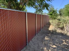 6' privacy chain link, redwood color.