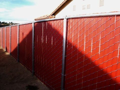 Privacy Chain Link Redwood Slats