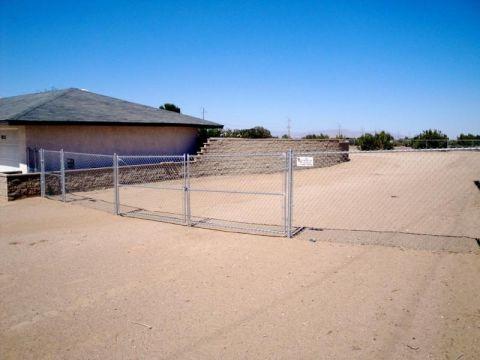 5' chain link, 16' double swing gate