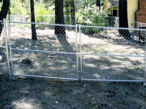 5' chain link, 12' double swing gate
