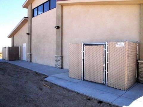 6' privacy chain link, a/c full enclosure