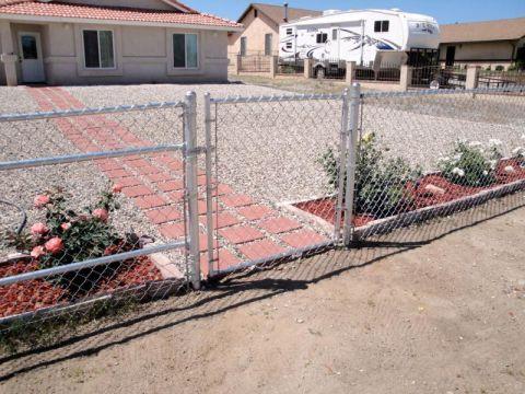 4' chain link, 4' walk gate