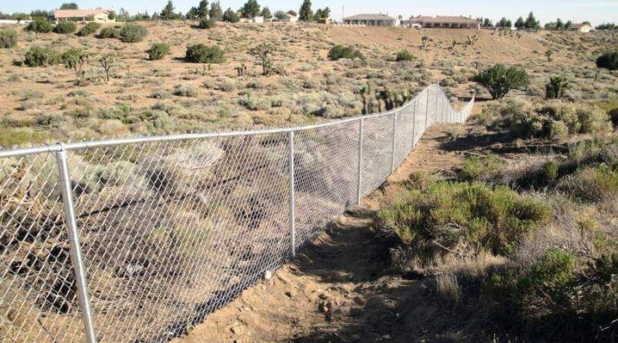 long chain link fence in High Desert, CA