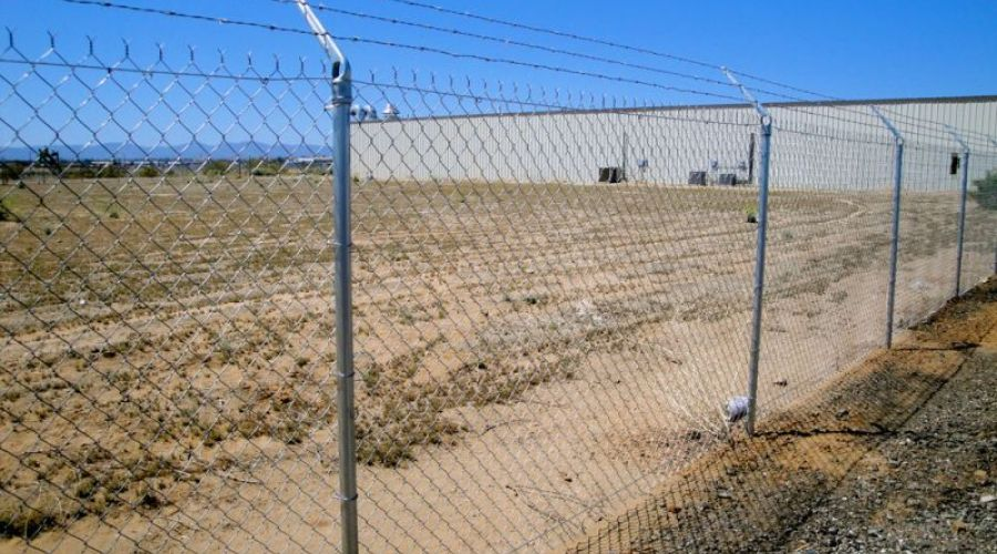 large chain link commercial fence
