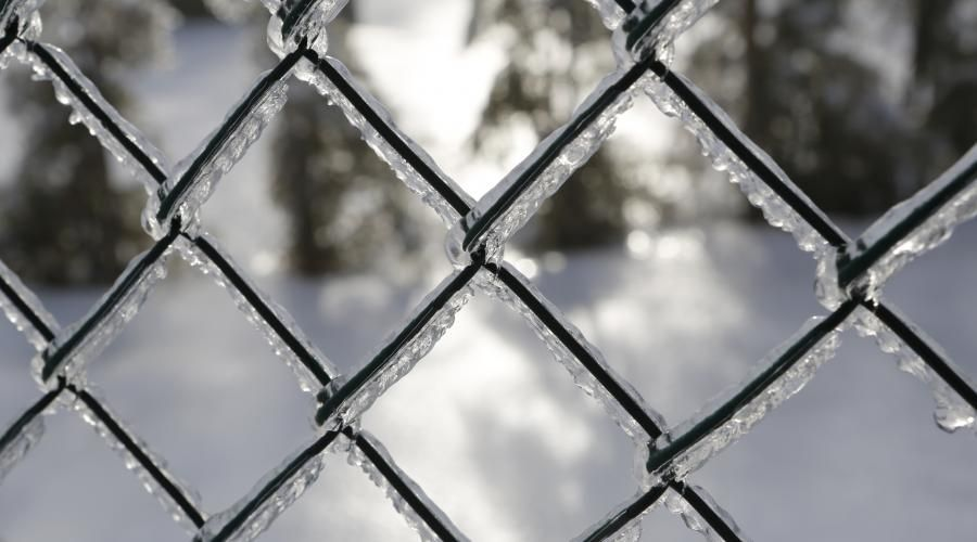 Winter Chain Link Fence