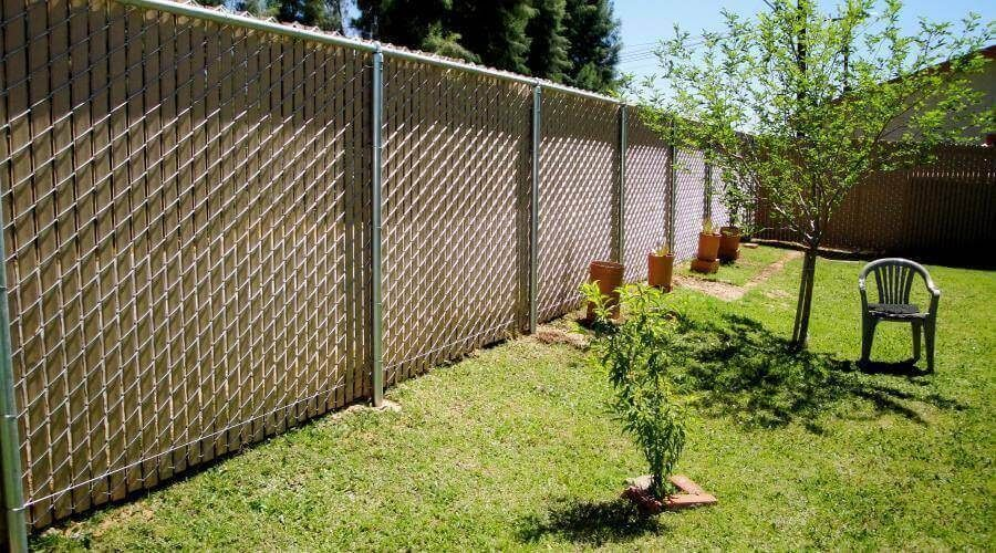 light brown privacy chain link fence