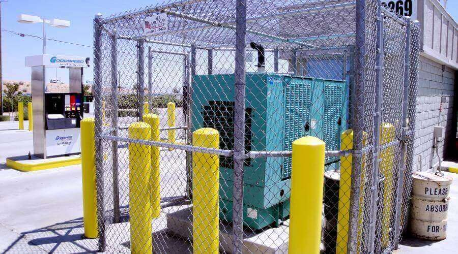 7' chain link with mid-brace around generator fully enclosed