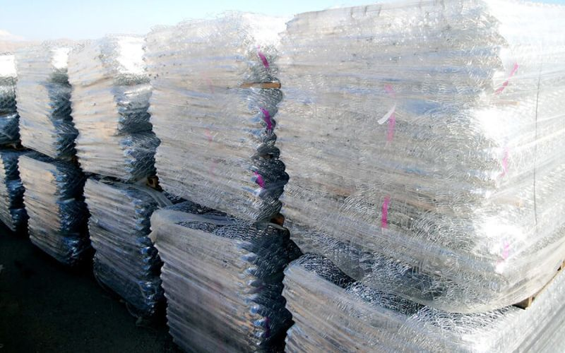Pallets of residential chain link in stock