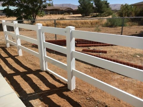 white vinyl ranch style gate