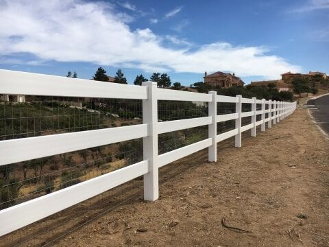 white vinyl ranch style fencing in California