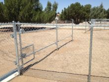 5' Chain Link, 16' Rolling Gate with Angle Iron & V-groove Wheel